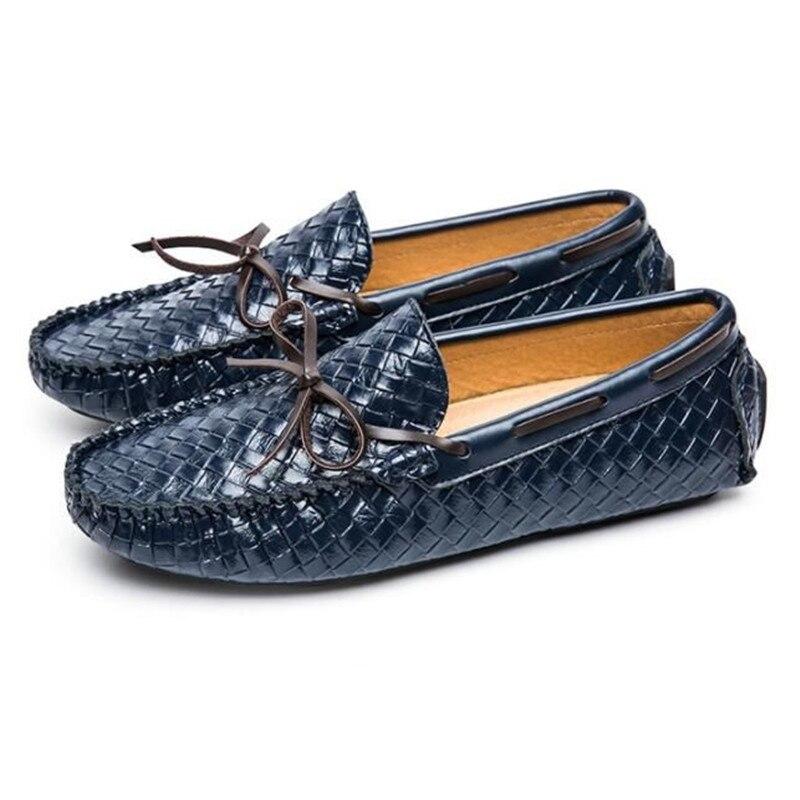 Apartamentos De azul Sapatos Condução Casamento Homem Dos Homens Partido Preto Casuais Leather Mocassins Do Movechain Grain Borlas Tecido Moda Mens Na qPR6EE