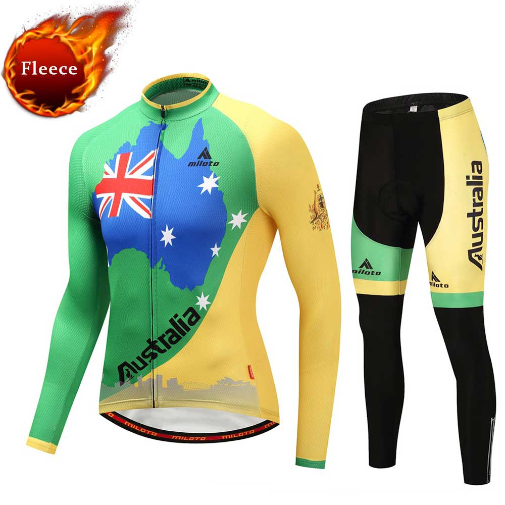 Australia Team Winter Mountain Bike Jerseys & Pants Sets Thermal Fleece Long Sleeve Cycling Clothing Sets dichski cycling jerseys suit mountain bike quick dry breathable winter long sleeve men uv protect riding pants new clothing sets
