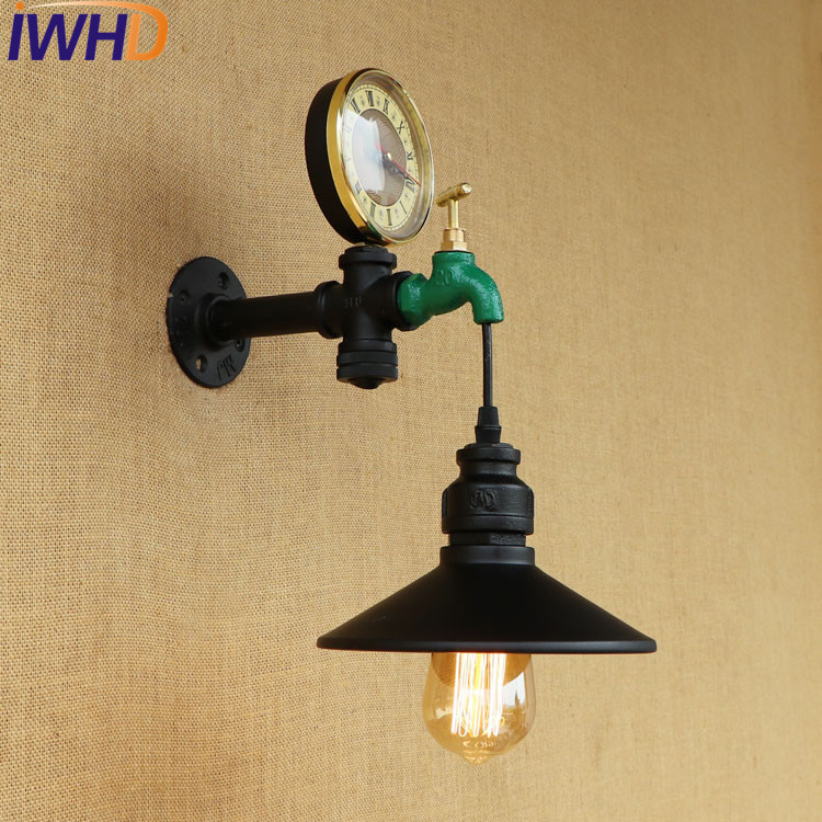 IWHD Loft Style Antique Water Pipe Lamp Switch Industrial Edison Wall Sconce horologe Vintage Wall Light Fixtures Home Lighting