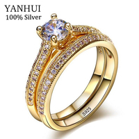 YANHUI Luxury 2pcs Round Rings Sets For Women Natural Pure 925 Silver Engagement Wedding Female Finger