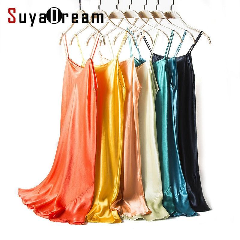 Silk SLEEP Dress REAL SILK Women Sleepwear Healthy Home Dress Slips SALE 2019 Spring Summer New Black RED PINK