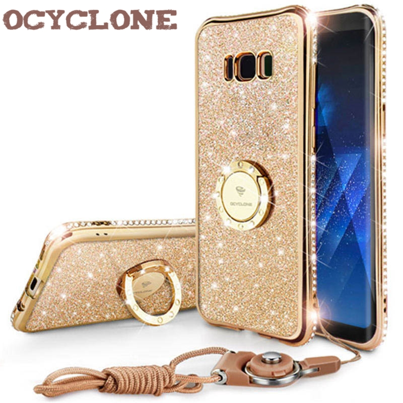 For Samsung Galaxy S8 S8 Plus Case RingDiamond Cover For Samsung Note 8 Case Ring Bling Cover For Galaxy S8+ Case Glitter Purple
