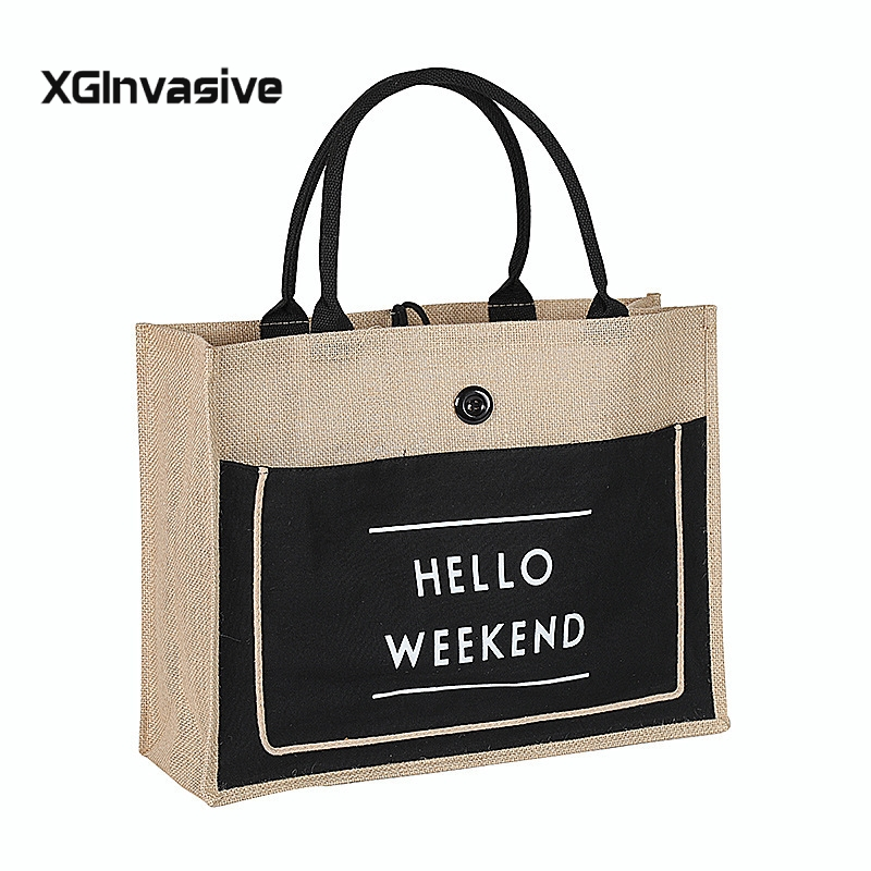 Causal European Style Female Hello Weekend Jute Cotton Handbags Women Big Size Beach Bag For Girls 3 Color Printing Shoulder Bag