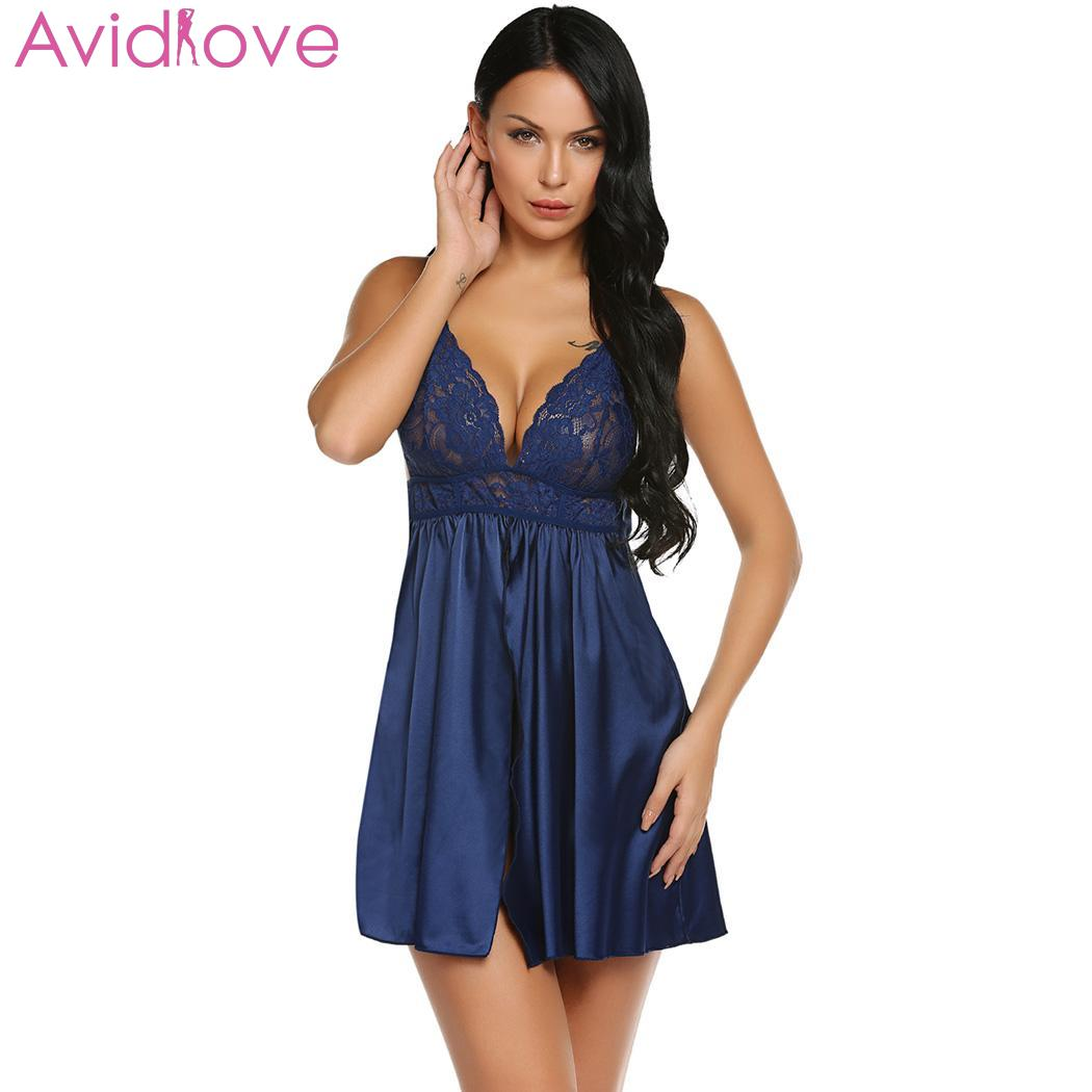 648a05065bf44 Detail Feedback Questions about Avidlove Women Nighty Nightgown satin Dress  sleepwear Split V Neck Spaghetti Strap Lace Patchwork Ruched Babydoll Night  ...
