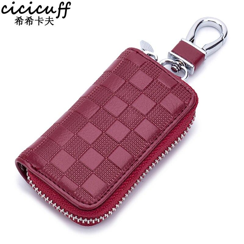 CICICUFF 2019 New Leather Car Key Wallets Fashion Plaid Key Holder Keys Organizer Case Unisex Keychain Zipper Key Bag Wholesale