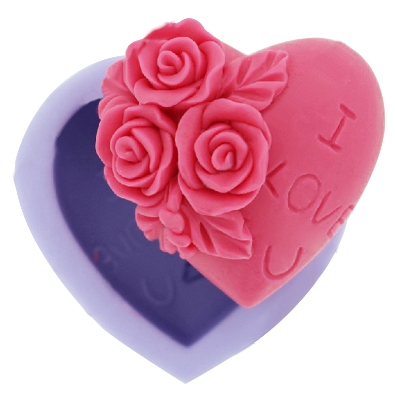 Heart Rose Shaped Silicone Mold Fondant Sugar Confectionery 3D Soap Moulds Cake Decorating Tools