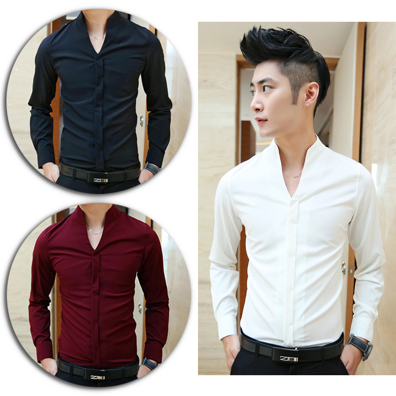a87462f4 Men Korean Stylish Fashion Collarless Dress Shirt Long Sleeve Skinny ...