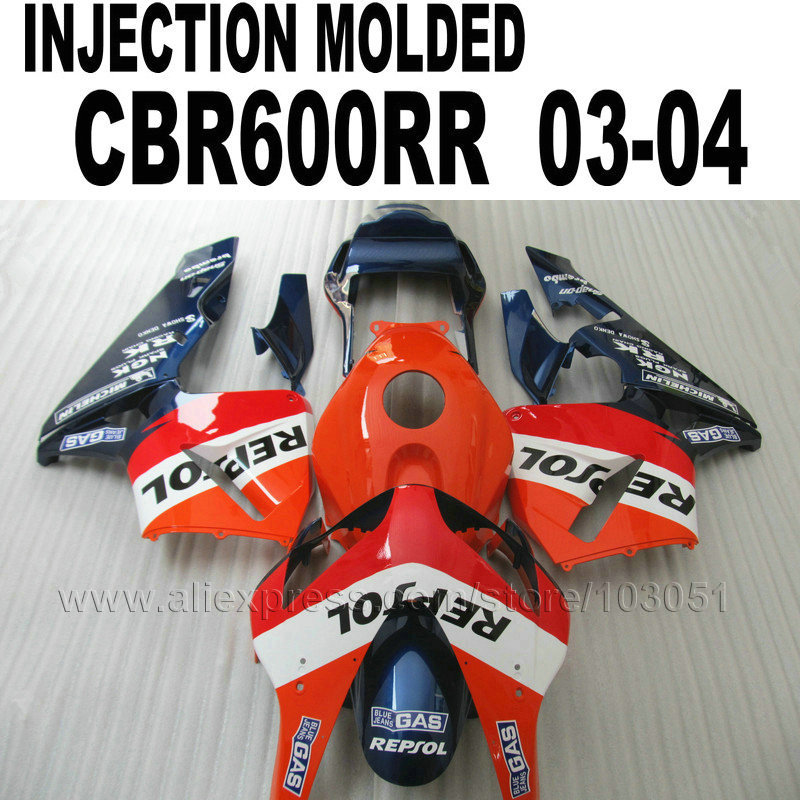 ABS plastic Injection fairing kits for Honda repsol  CBR600RR 2003 2004 CBR 600 RR 03 04 cbr600 orange blue fairings kit injection molded fairing kit for honda cbr600rr 03 04 cbr600 cbr600rr f5 2003 2004 green white black abs fairings set zq39