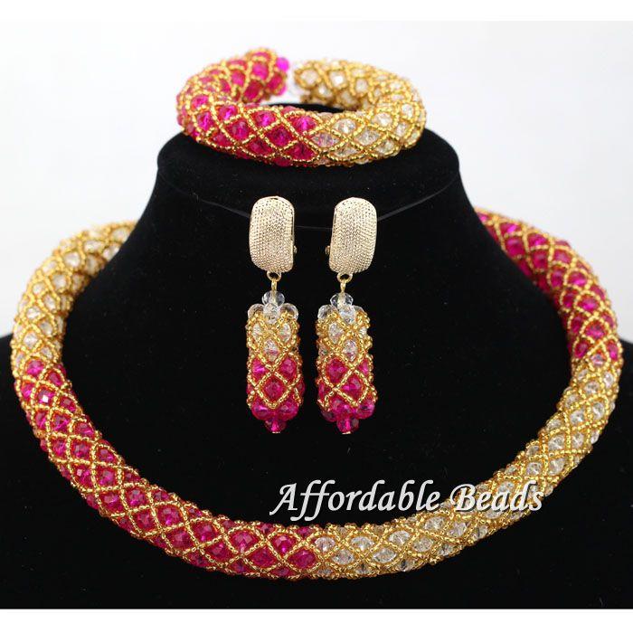 Classy Beaded Weaving Nigerian African Beads Jewelry Necklace Beaded Bridal Wedding Party Jewelry Set Handmake hx092 chunfeng handmake dimaond cubezd002150