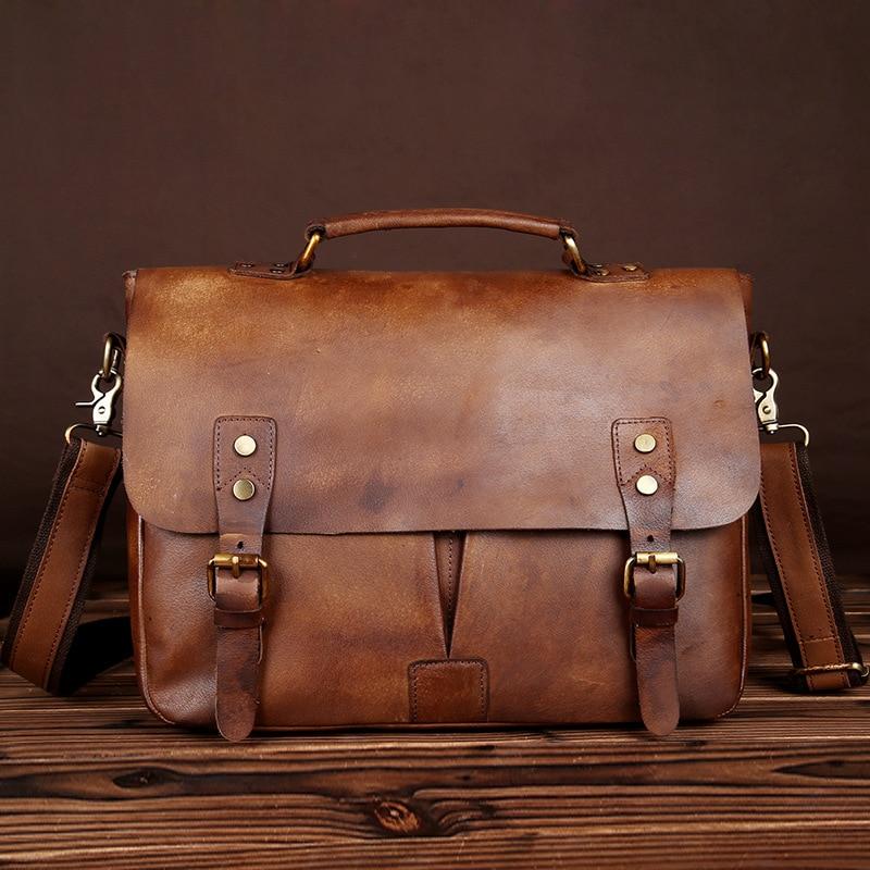 Brand Men Genuine Leather Messenger Shoulder Bag Casual Vintage Old fashioned Handmade Laptop Briefcase Casual Crossbody