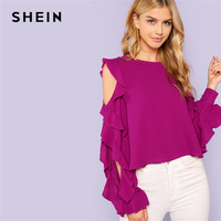 SHEIN Purple Office Lady Elegant Ruffle Long Split Sleeve Round Neck Solid Blouse 2018 Autumn Fashion Women Tops And Blouses
