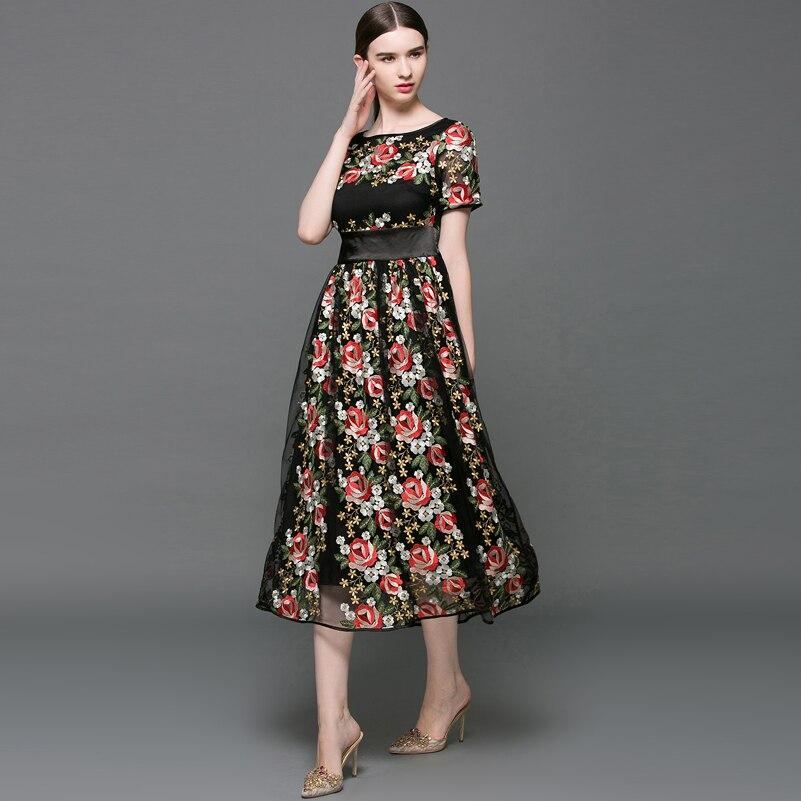 mollet Robe Restaurer Longue Manières Sexy Femmes Antiques Broderie Mi 2017 Haute Maille Qualité Noir Nouveau Longueur w6xq4aAx