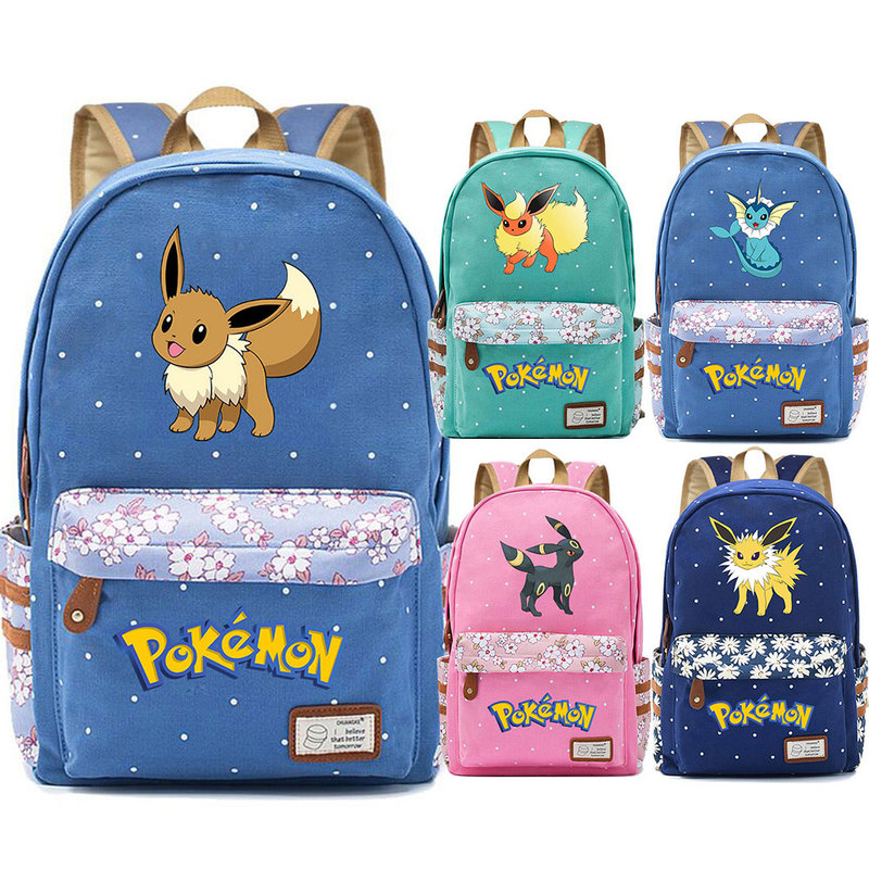 Hot Eevee Espeon Flareon Glaceon Jolteon Flower Dot Boy Girl School Bag Women Bagpack Teenagers Schoolbags Canvas Femme Backpack image