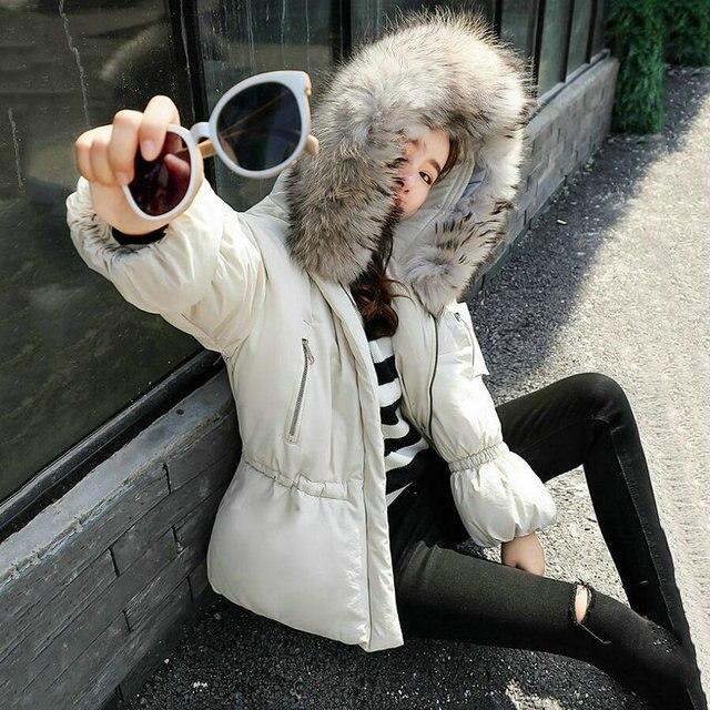 c5b00e207f16 Fluffy Big Fur Collar Hooded Winter Jacket Women Short Parka Plus Size Slim Winter  Coat Women Down Cotton Puffer Jackets MY752