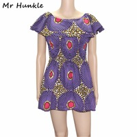 Mr Hunkle 2017 African Wax Print Dresses For Women Dashiki Summer Dress Puff Sleeve Cute Lady