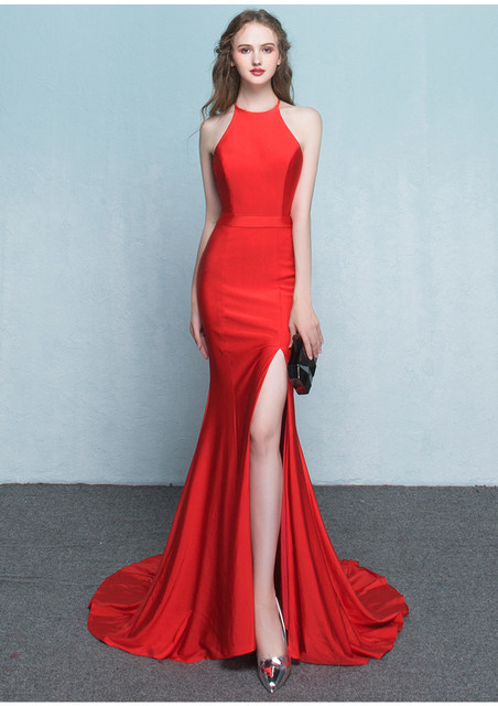 Us 129 0 Hot Style Sexy Mermaid Evening Dresses Red Black Crew Sweep Train Simple Long Evening Gown Split Slit Prom Graduation Dresses In Evening
