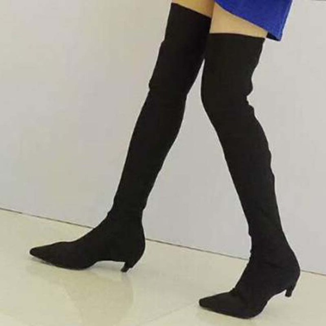 7f989058486 Sexy Women Pointed toe Spring Socks Thigh High Boots Kitten Heels Ladies  Slim Leg Stretch over knee boots Ladies Outfit Shoes