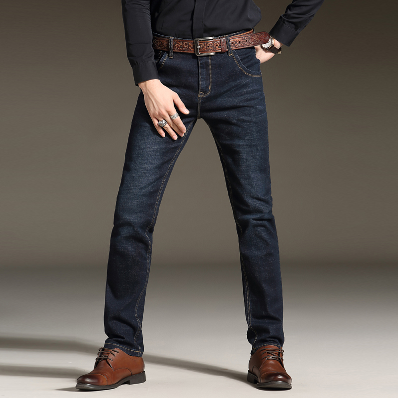 2018 New Arrival Fashion High stretch Jeans Mens Jeans Slim Water-washed Black Straight Jeans Retro men Denim jeans