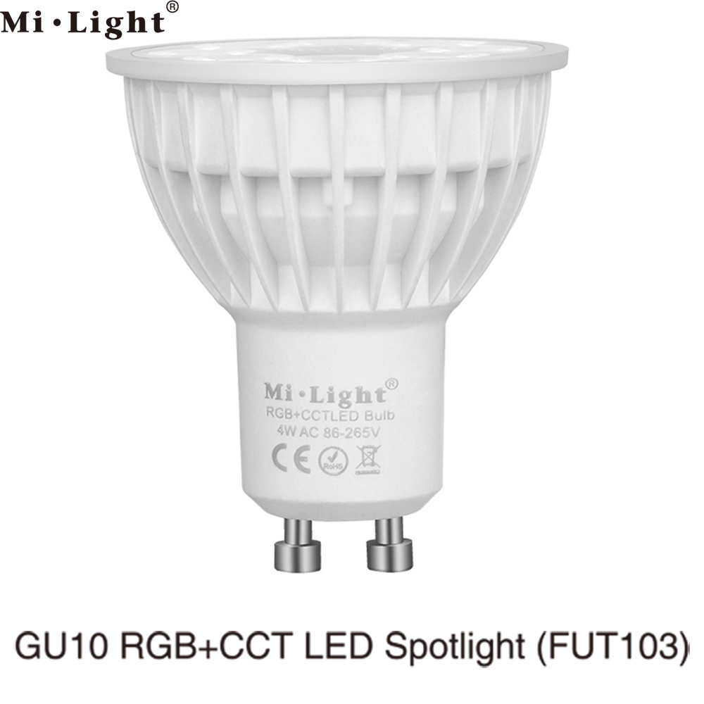 MiLight GU10 4W RGB+CCT LED Bulb Spotlight FUT103 110V 220V Full Color Remote Control Smart Bulb WiFi Compatible 4-Zone Remote