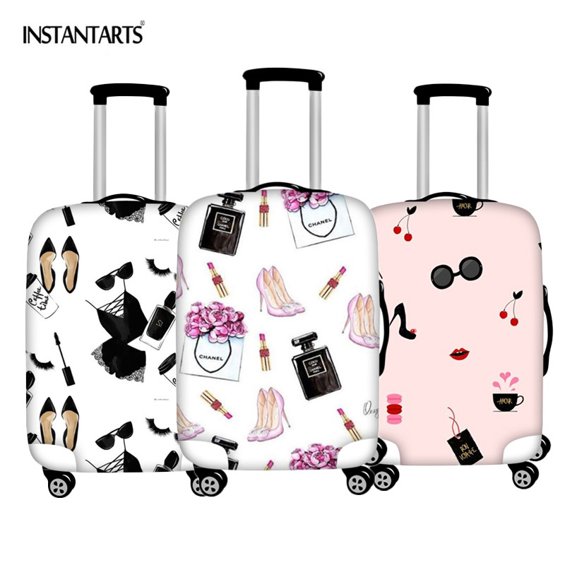 INSTANTARTS Beautiful Girls Make Up Patterns Luggage Protector Covers For 18-30 Inch Zipper Waterproof Travel Suitcase Cover