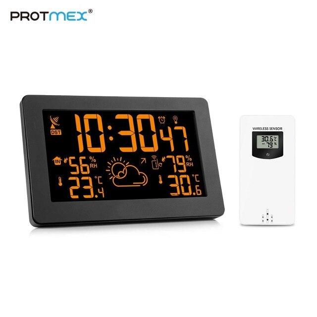 Protmex PT3378A محطة الطقس ، لاسلكي داخلي مقياس حرارة خارجي الرطوبة منبه رقمي ساعة مقياس الضغط