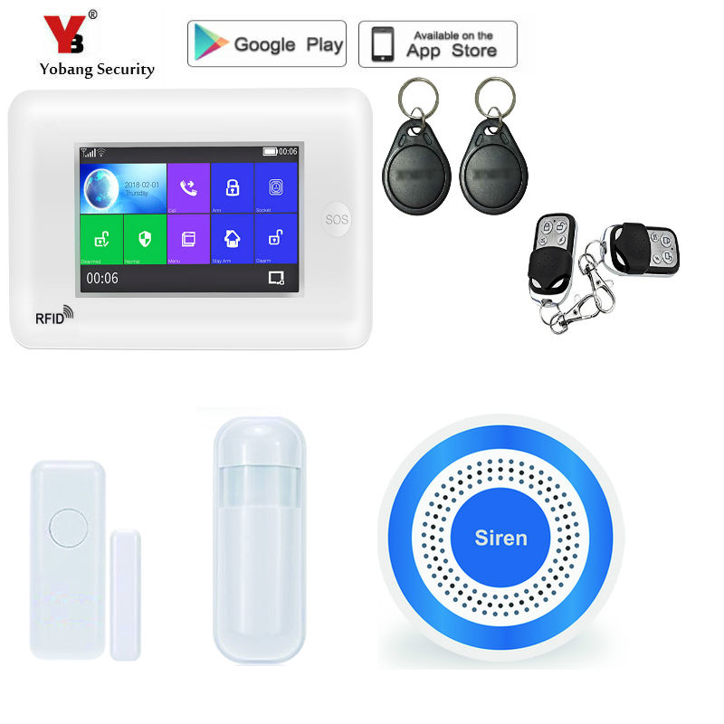 Yobang Security 4.3 inch Full Touch Screen GSM WIFI Smart Home Security System Kits Burglar Alarm Auto Dial APP Remote Control