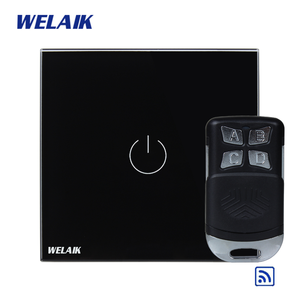 WELAIK Glass Panel Switch black Wall Switch EU remote control Touch Switch Screen Light Switch 1gang1way AC110~250V A1913BR01 crystal glass panel smart wireless switch eu wall switch 110 250v remote touch switch screen wall light switch 1gang 1way black