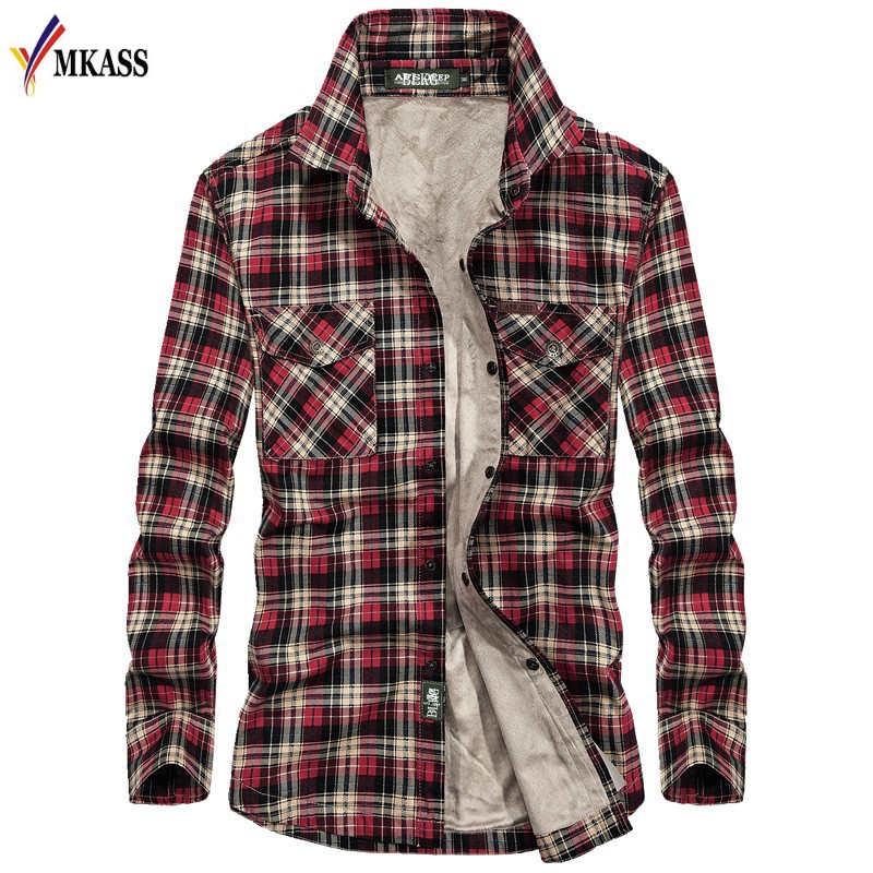 Men Shirts Men Casual Shirts Winter Wool Fleece Thick Warm Male Plaid Shirts Camisa masculina Chemise homme M-XXXL