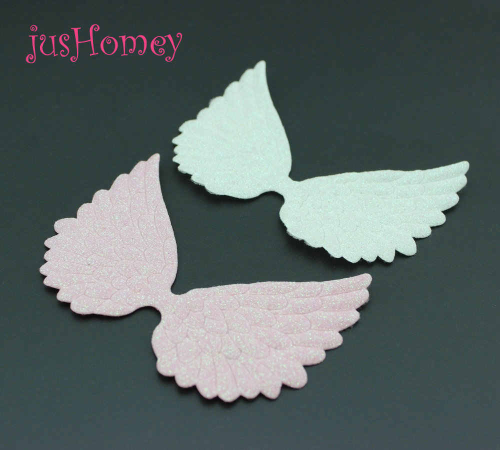 10pcs white pink  Glitter Fabric Angel Wings Large 10cm Single Sided Glitter Angel Wing Appliques Doll Wing Scrapbook Patches