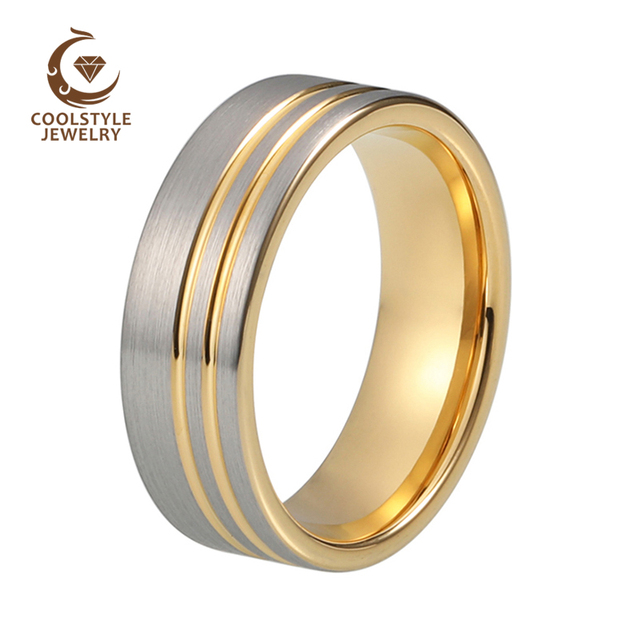 Mens Tungsten Carbide Ring 8mm Silver Matte Brushed Top Yellow Gold Color Plaed Double Offsset Line