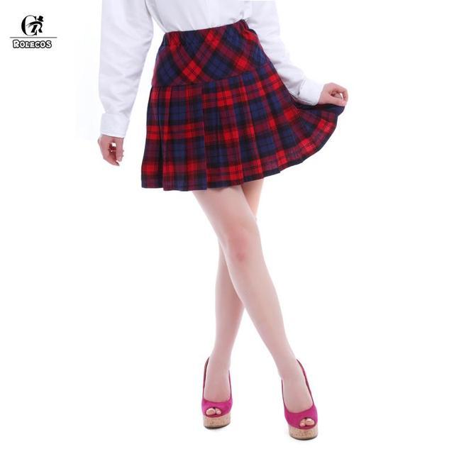 9a2b11c1b ROLECOS Womens Short Green Blue Purple Red Plaid Pleated Skirt Summer 2016