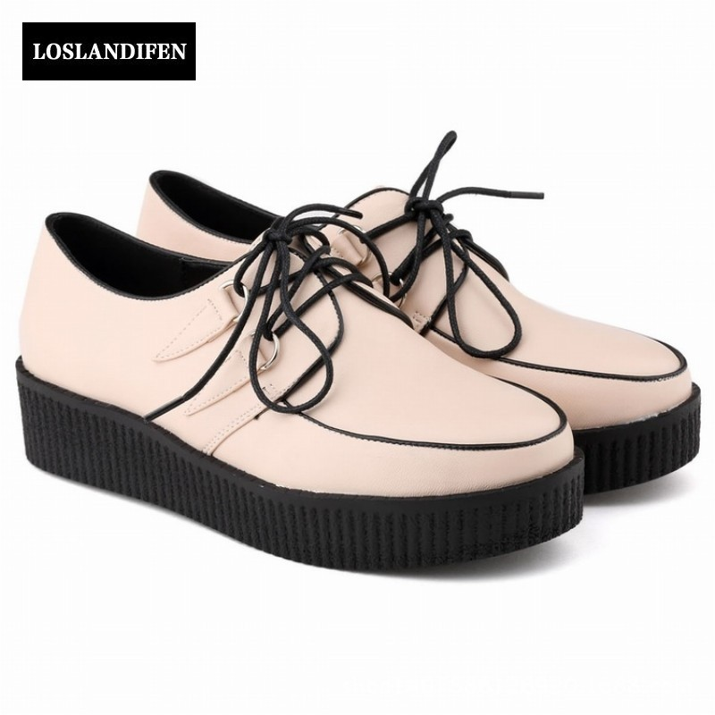 New Arrival Women Wedges Heel Shoes Round Toe Platform Lace Up For Women Casual Retro Shoes Pu Leather 10 Colour Free Shipping genuine cow leather spring shoes wedges soft outsole womens casual platform shoes high heel round toe handmade shoes for women