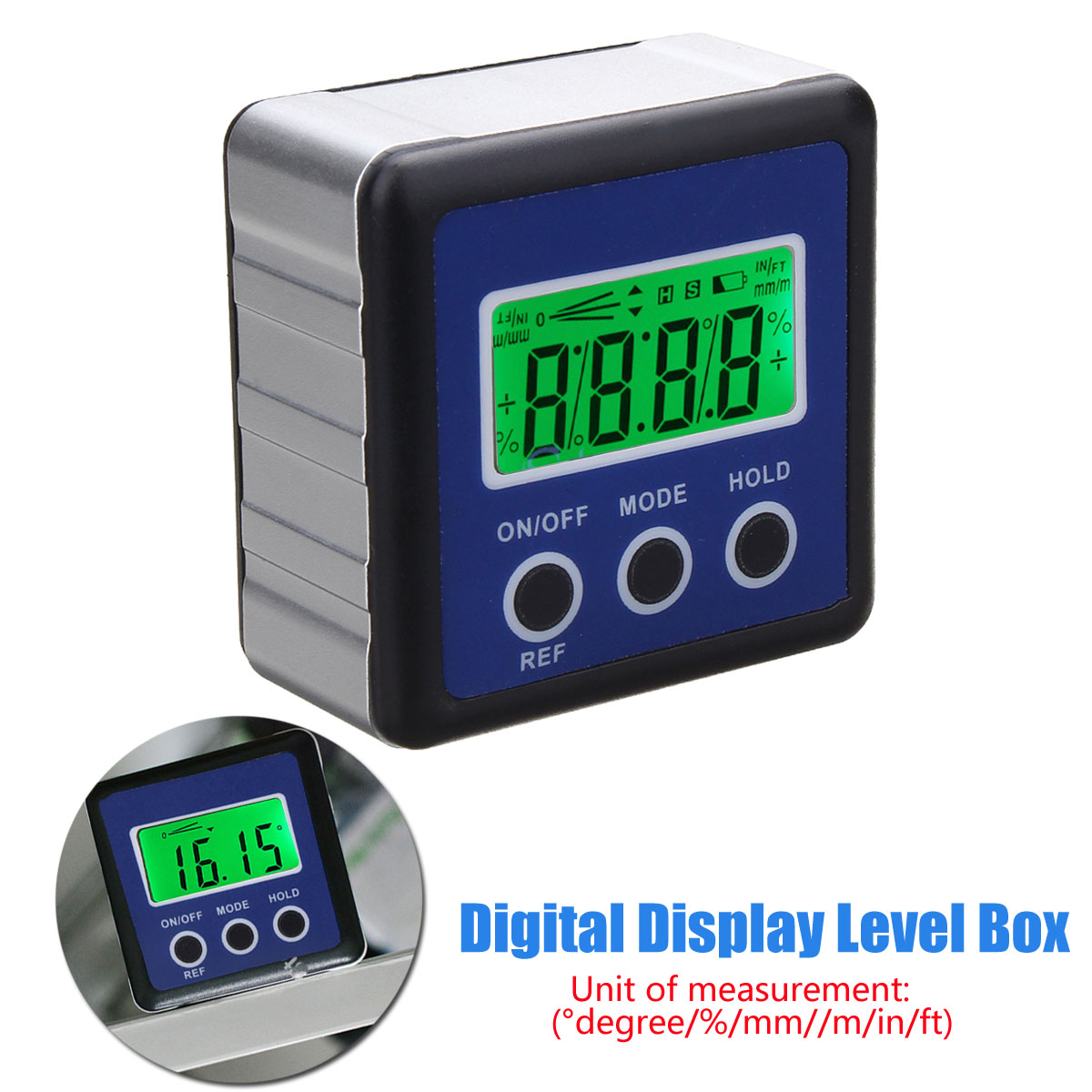 Digital LCD Display Box Gauge Angle Protractor Level Inclinometer Magnetic Base Declinometer For Level Measuring Instruments dmi100 1 4 lcd screen digital level bevel gauge box inclinometer