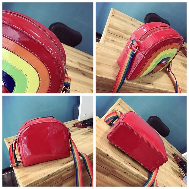 Rot Tasche Pcs Schulter 100 Herz Leder Handtasche Kleine Frauen Pu Messenger Mode lot Regenbogen Taschen 7xFvwZq