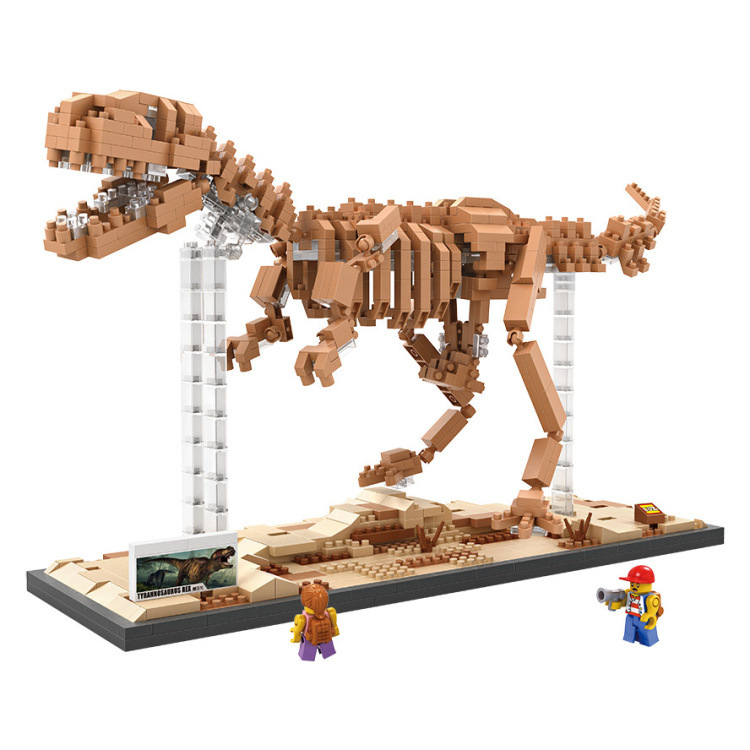 Fun Children's building blocks toys compatible with Legoe Jurassic dinosaur Tyrannosaurus model intelligence building blocks toy 37 cm tyrannosaurus rex with platform dinosaur mouth can open and close classic toys for boys animal model without retail box