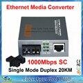 Gigabit HTB-GS-03 Fibra Conversor de Mídia Óptica 1000 Mbps Porta 20 KM Monomodo Duplex SC fonte de Alimentação Externa