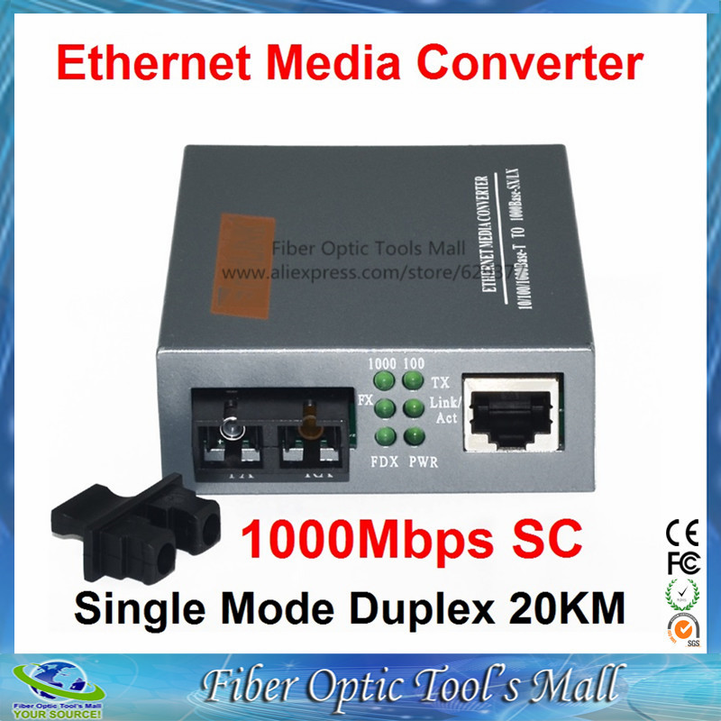 imágenes para Gigabit HTB-GS-03 Monomodo Dúplex de Fibra Óptica Media Converter 1000 Mbps Puerto 20 KM SC fuente de Alimentación Externa