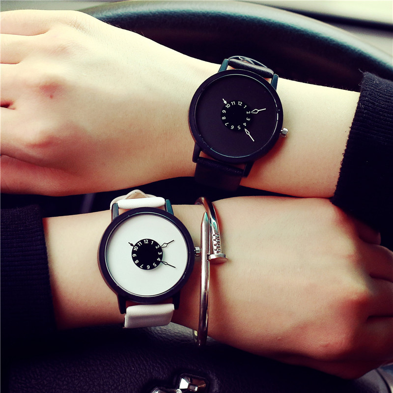 New Creative Pointer Men and Women watch Top Brand Leather watch White and Black Student Quartz-watch Casual hours Relojs Clock price drop hot selling casual leather watch women and men high quality simple quartz watch 2016 new student watch factory direct