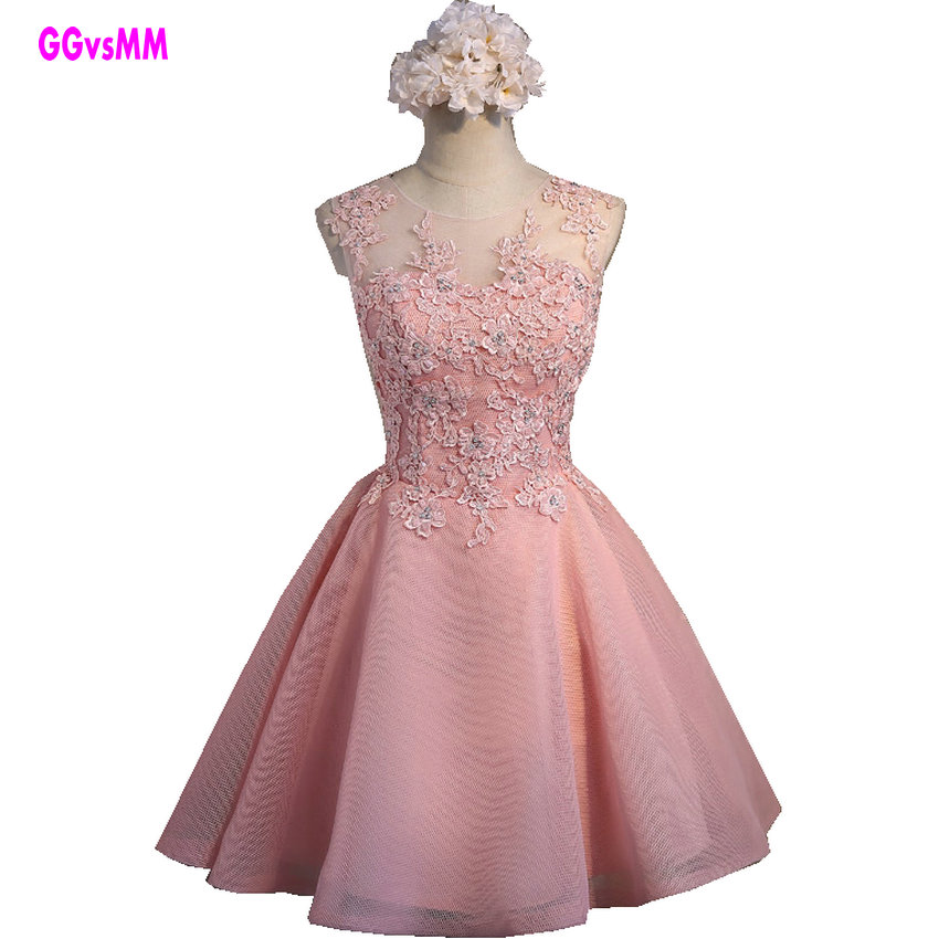 Fast shipping Pink Lace   Prom     Dresses   2018 Short   Prom     Dress   New Sexy O-Neck Sleevesless Tulle Appliques Formal   Prom   Party Gowns