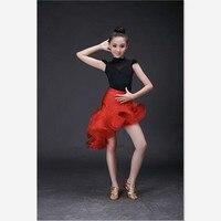 De alta calidad de seda de hielo delgado elegante niños Latino danza vestido magnífico lentejuelas acanalado rojo clásico negro desgaste de la danza
