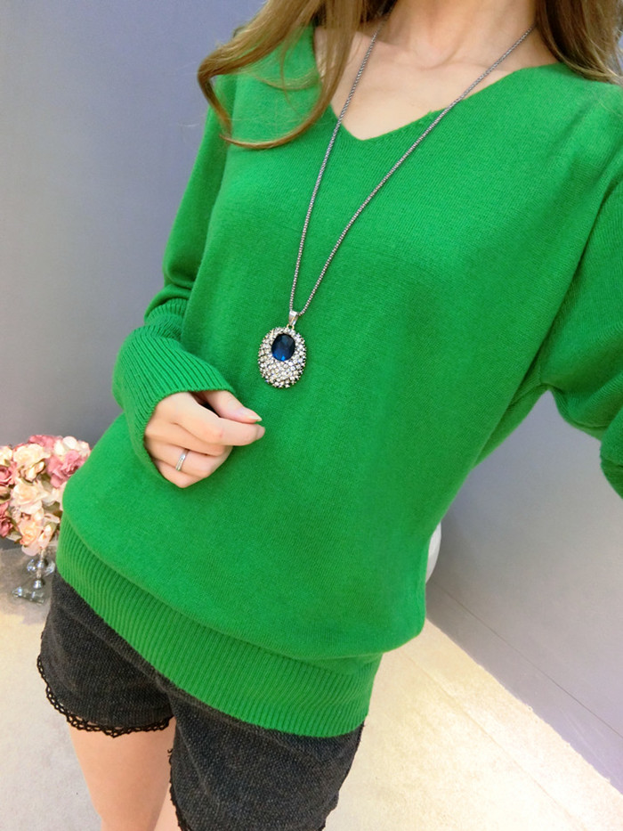 LOWEST-PRICE-Fashion-Women-s-Pullover-Sweater-Lady-V-neck-Batwing-Sleeve-Cashmere-Wool-Knitted-Solid (3)