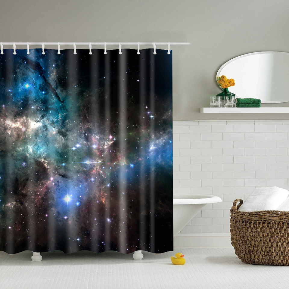 beautiful galaxy night shower curtains waterproof bathroom curtains polyester 180x180cm