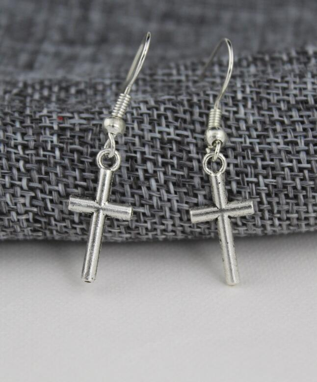 New fashion jewelry accessories vintag  silver plated small  cross dangle earring best gift for girl's  wholesale E218