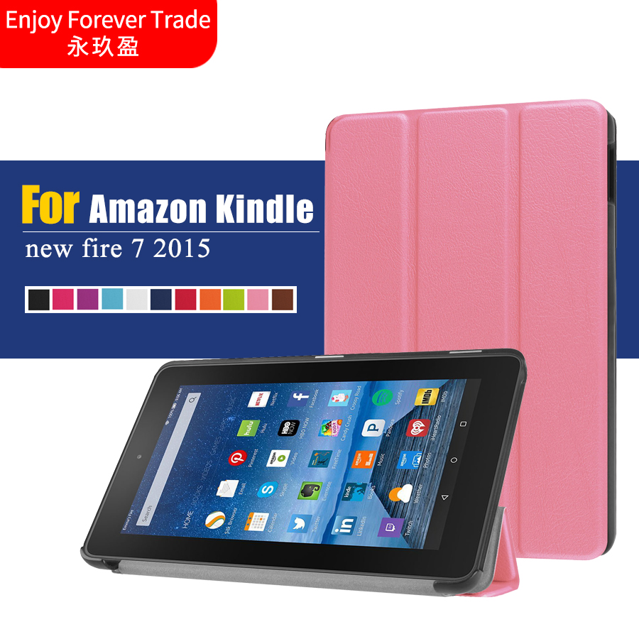cheap for discount 14a29 2b478 US $16.0 |Magnet stand PU Leather Case Cover For Amazon new Fire 7 2015  tablet cover cases for new kindle fire 7 2015 with tracking Nomber-in  Tablets ...