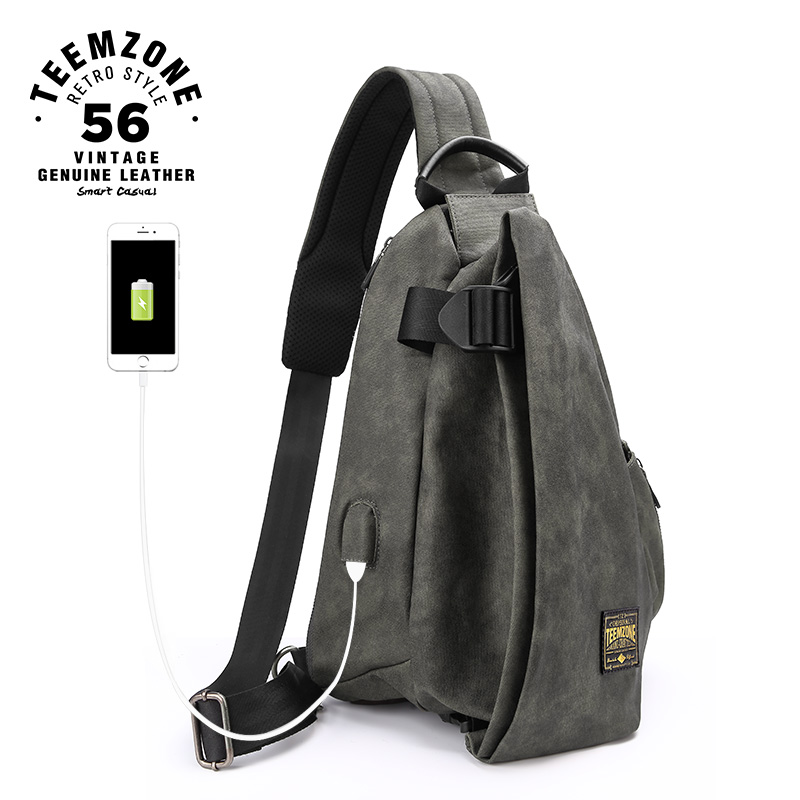 Male Shoulder Bags USB Charging Crossbody Bags Anti Theft Chest Bag Canvas Waterproof Travel Messengers Bag 50