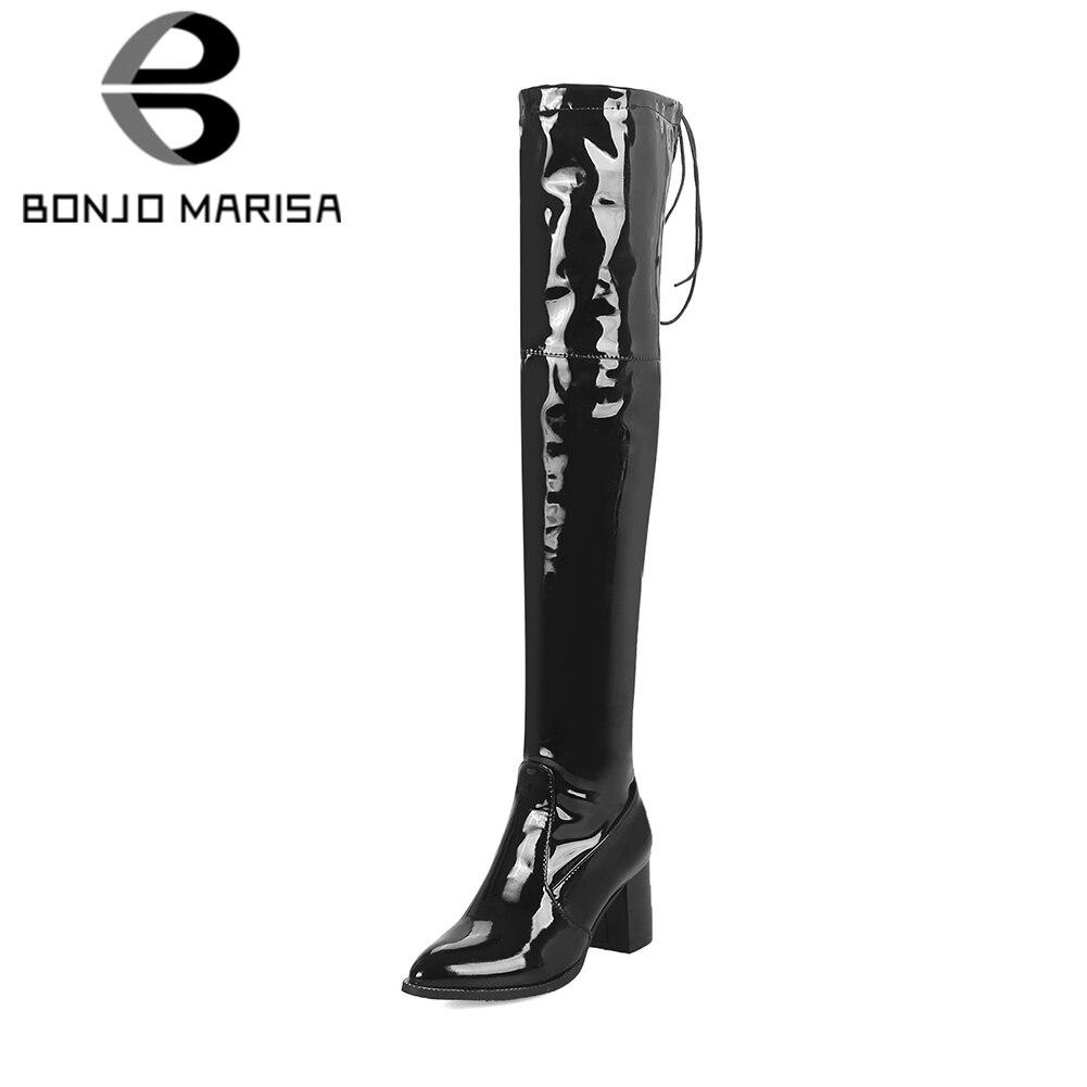 BONJOMARISA marca de las mujeres de talla grande 33-48 patente Pu por encima de la rodilla de alta del muslo botas de invierno de las mujeres zapatos de tacón alto zapatos de mujer de fiesta