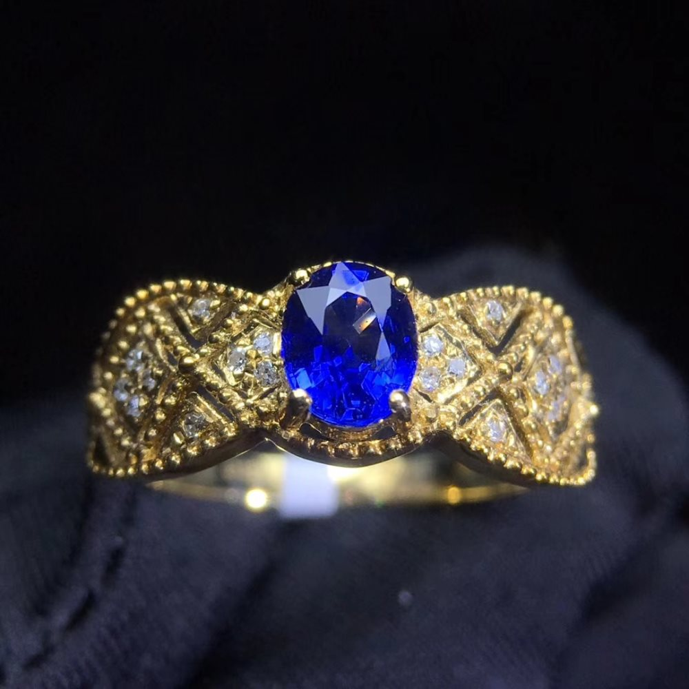 gemstone jewelry factory wholesale classic luxury 18k yellow gold real diamond natural blue sapphire gold ring for women wedding