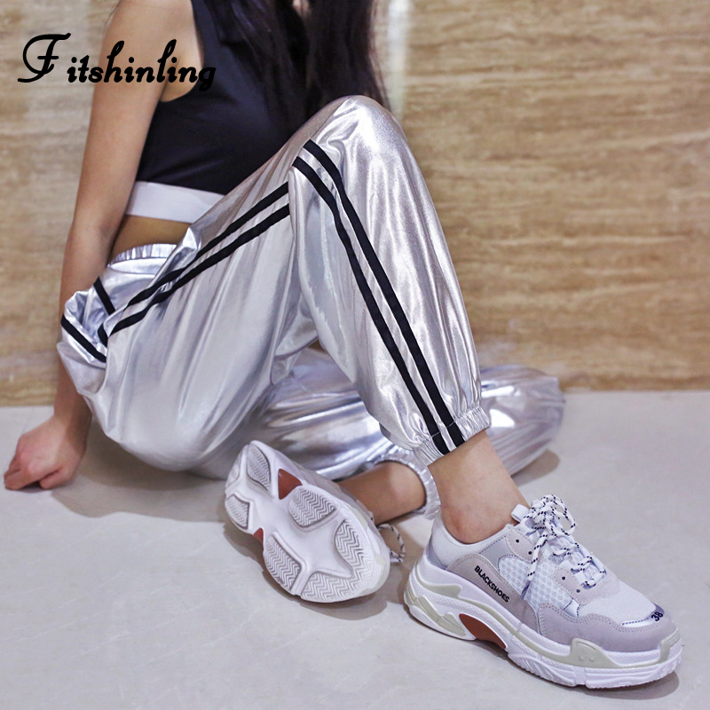 Fitshinling Fashion metallic joggers women side striped silver baggy trousers high waist   pants   female 2018 autumn   capris   sale