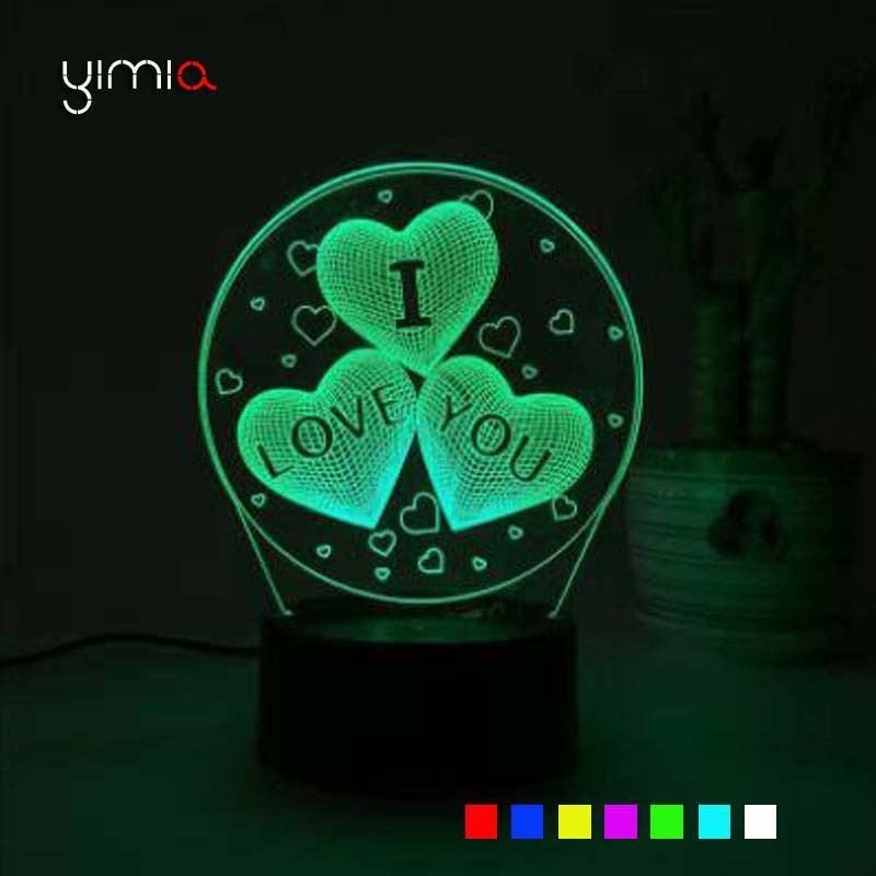 YIMIA Colorful I LOVE YOU 3D Led Night Light Touch Swtich Table Night Lamp For Girls Birthday Valentine Gift Home Decor
