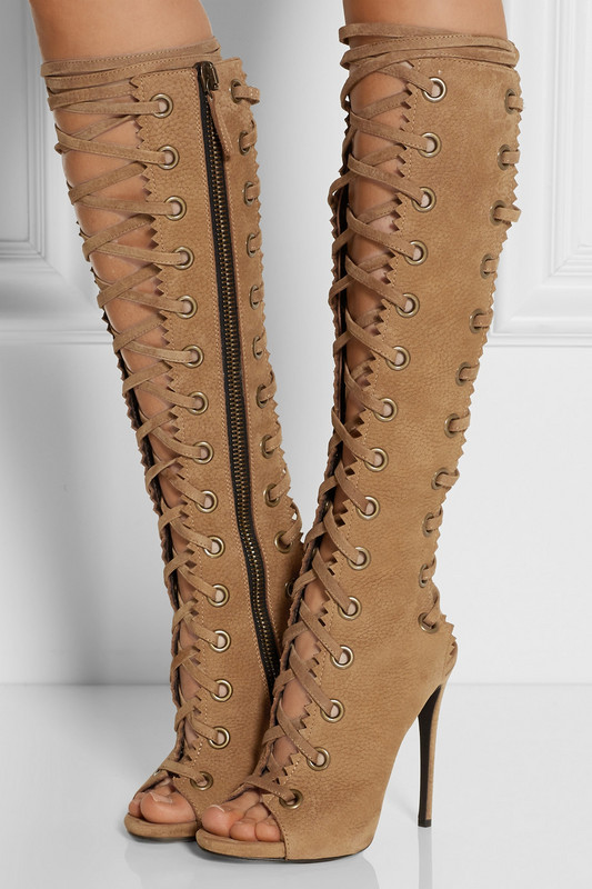 Deep Toe Cross-tied Woman Long Boots Summer knee Sandal Boots Lace Up Female Motorcycle Booties lace up deep v teddy